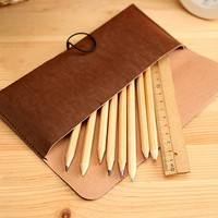 bUKt-Leather Cosmetic Makeup Bag Pen Pencil Stationery Case Zipper Pouch