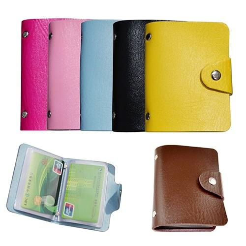 Leather Bags Pocket Business ID Credit Card Organizer Wallet Holder Case for 24 Cards