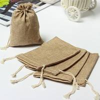 buB4-5pcs Mini Rustic Burlap Pouch Sack Drawstring Tie Bag Wedding Party Favor GOOD