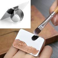 c4lH-Nail Art Makeup Cosmetic Stainless Steel Paint Mixing Palette Ring Tool