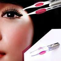 cddE-Helpful Stainless Steel Make Up LED Light Eyelash Eyebrow Hair Removal Tweezer