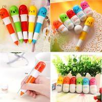 e4kE-6pcs Student Children Kids Cute Novelty Pill Doctor Nurse Capsule Ballpoint Pen