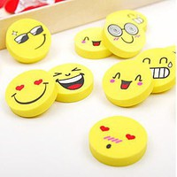 eMf2-5Pcs School Accessories Cute Smile Emoji Style Rubber Pencil Eraser Pupils Office Stationery Gift Toy