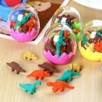 ePF7-Novelty Dinosaur Egg Pencil Rubber Eraser Students Office Stationery Toy