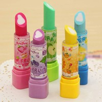 eadL-Fashion Cute Lipstick Eraser Students Eraser Rubber Stationery Kid Gift Toy