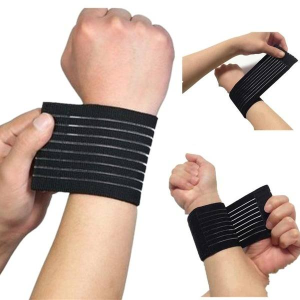 Fitness Cotton Strength Bandage Hand Wrist Straps Sport Wristbands Support Wrist Protector Carpal Tunnel Wrist Brace Gym Wraps(Color: Black)
