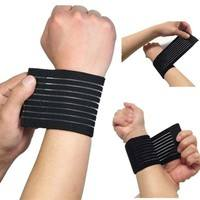 fEi8-Fitness Cotton Strength Bandage Hand Wrist Straps Sport Wristbands Support Wrist Protector Carpal Tunnel Wrist Brace Gym Wraps(Color: Black)