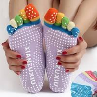 flCp-Multi Color Women Yoga Socks Non-slip Rubber Fitness Warm Socks Gym Dance Sport Exercise