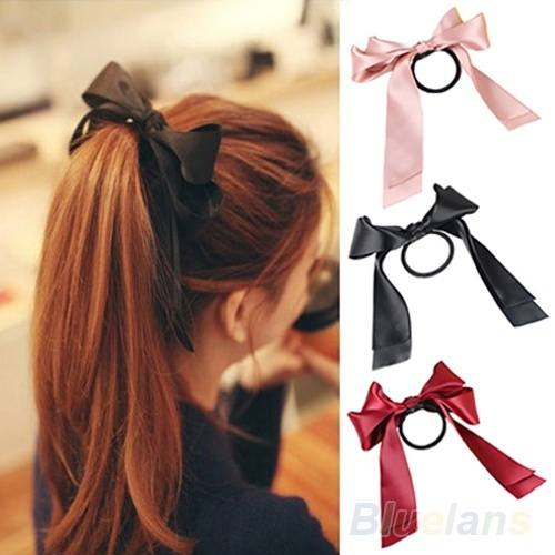 Sweet Women Multi color Satin Ribbon Bow Hair Band Rope Scrunchie Ponytail Holder