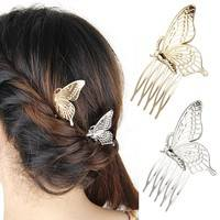 h7Th-Women Girls Alloy Butterfly Hair Comb Headwear
