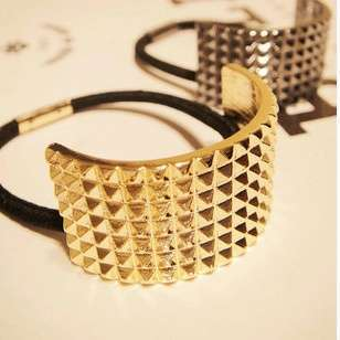 Hot Fashion Punk Rivet Hair Rope Personalized Gold Black Plated Semicircle Metal Elastic Hair band-2