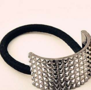 Hot Fashion Punk Rivet Hair Rope Personalized Gold Black Plated Semicircle Metal Elastic Hair band-5