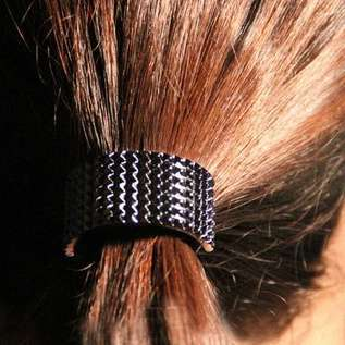 Hot Fashion Punk Rivet Hair Rope Personalized Gold Black Plated Semicircle Metal Elastic Hair band-7