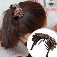 hAp6-Leopard Fabric Bow Hair Clips Barrette Ribbons Ponytail Headband
