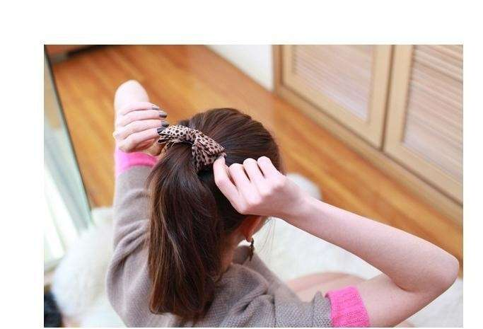Leopard fabric bow Hair Clips Barrette Ribbons Ponytail Headband-3