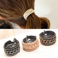 hDGL-Fashion Hair Claws The Chain Needlework Weave Gripper Ponytail Buckle Hairpin Hair Band Hair Ring For Women