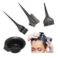 hKeL-4pcs 1 Set Black Plastic Hair Dye Coloring Brush Comb Mixing Bowl Barber Salon Tint Hairdressing Styling Tools