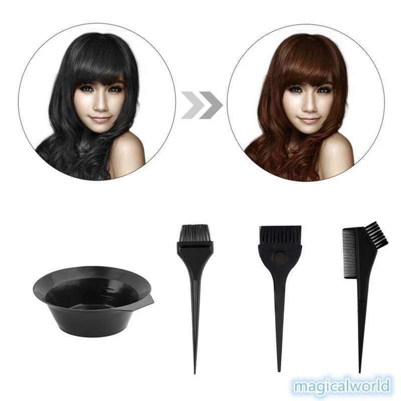 4pcs 1 Set Black Plastic Hair Dye Coloring Brush Comb Mixing Bowl Barber Salon Tint Hairdressing Styling Tools-9