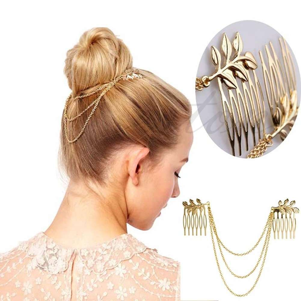 Womens Golden Tone Leaf Hair Cuff Chain Comb Headband Hair Band