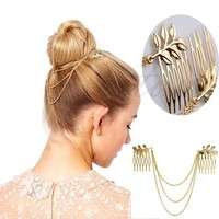 hLDV-Womens Golden Tone Leaf Hair Cuff Chain Comb Headband Hair Band