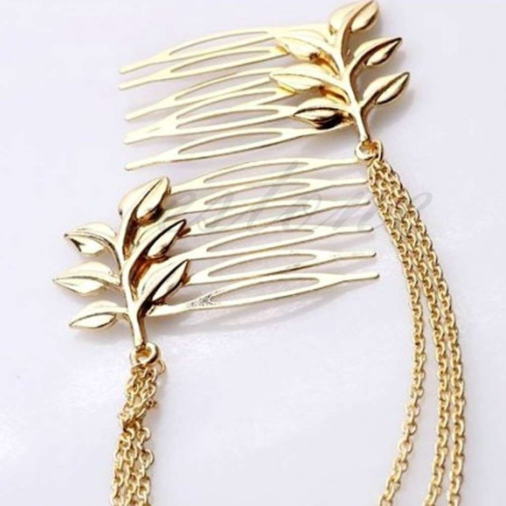 Womens Golden Tone Leaf Hair Cuff Chain Comb Headband Hair Band-1