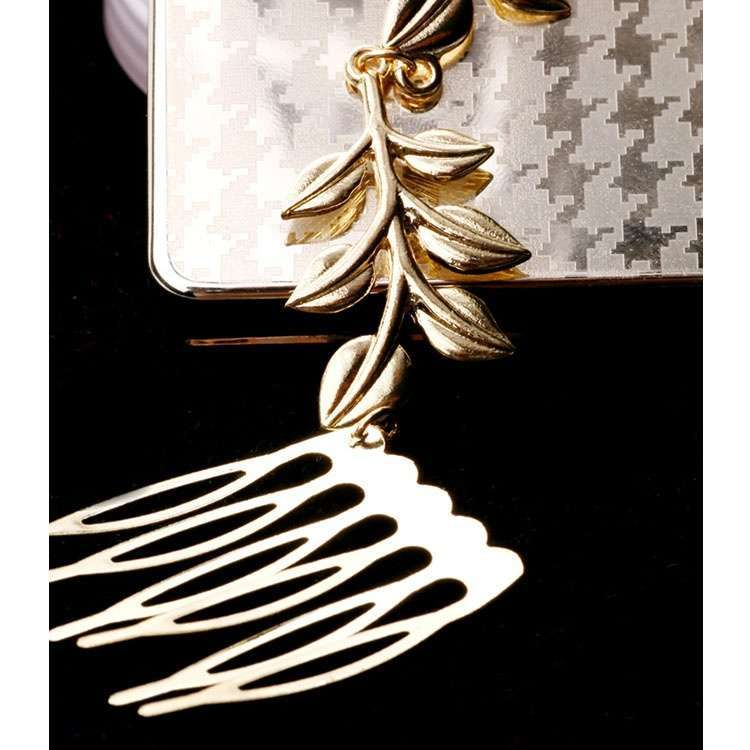 Womens Golden Tone Leaf Hair Cuff Chain Comb Headband Hair Band-11