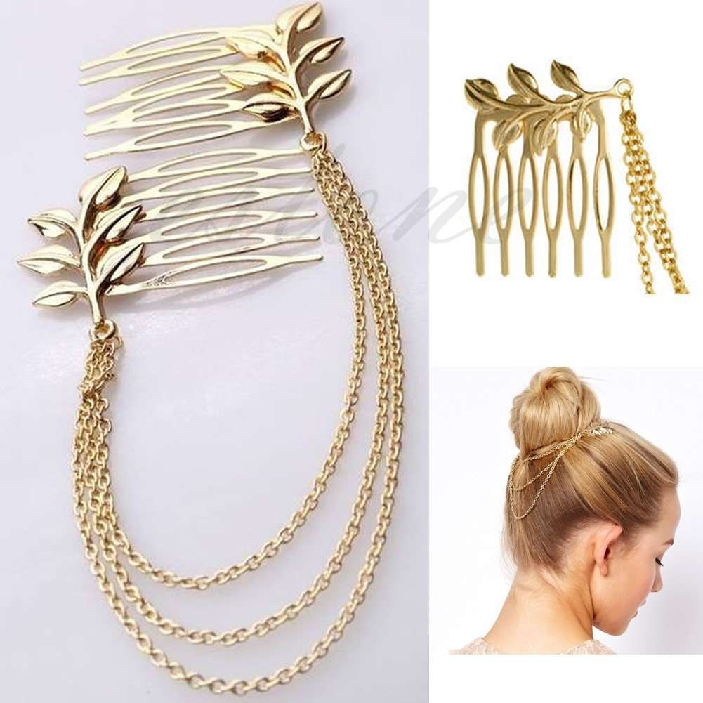 Womens Golden Tone Leaf Hair Cuff Chain Comb Headband Hair Band-3