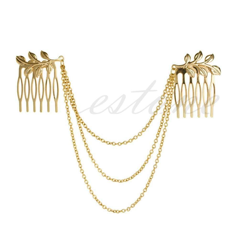 Womens Golden Tone Leaf Hair Cuff Chain Comb Headband Hair Band-6