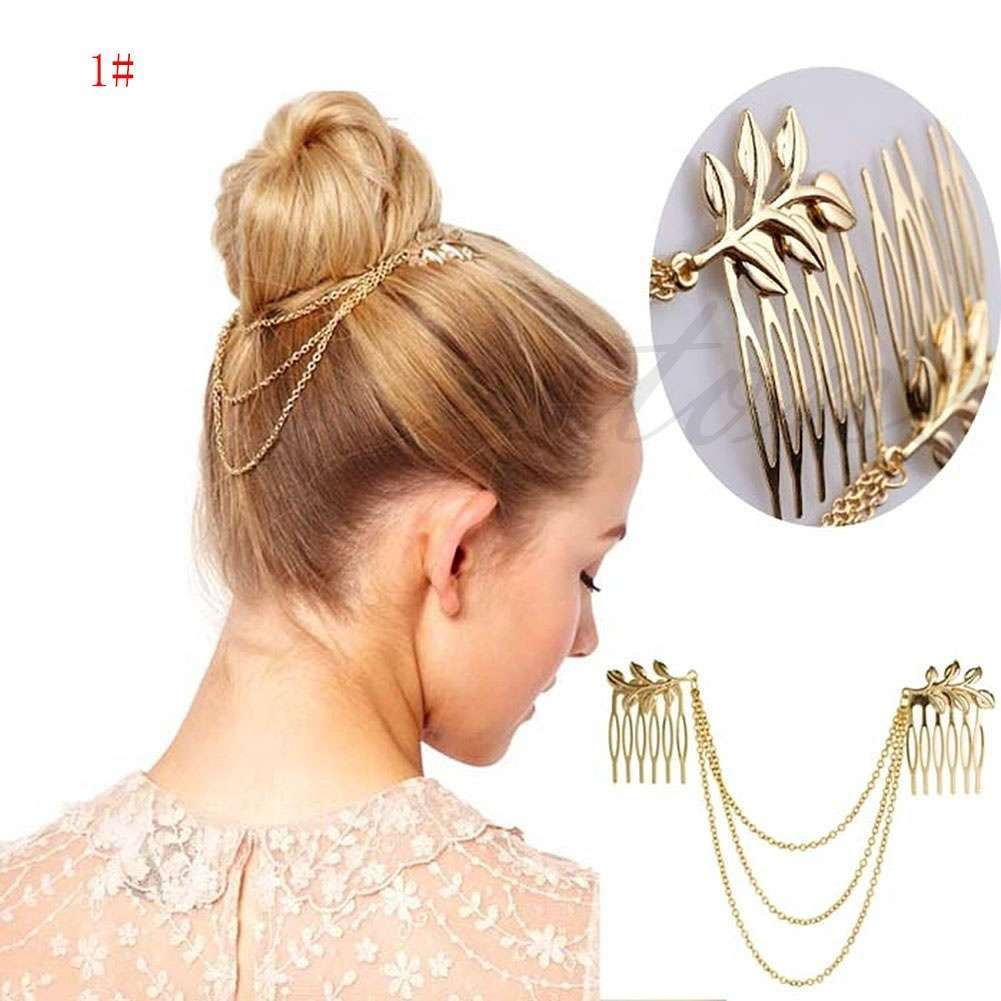 Womens Golden Tone Leaf Hair Cuff Chain Comb Headband Hair Band-7