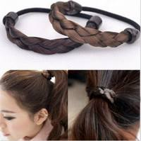 hLTy-Women Wig Braided Tails Elastic Hair Band Rope Scrunchie Ponytail Holder