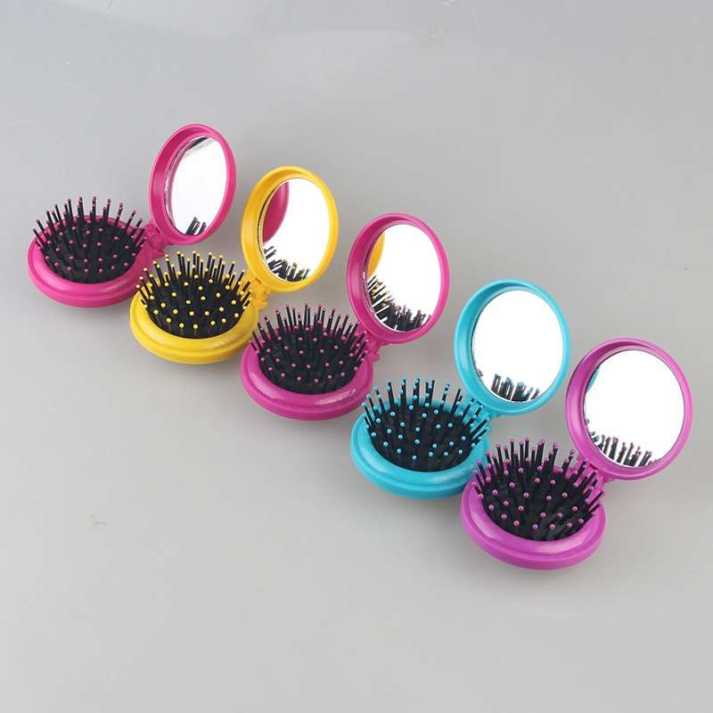 Girls Travel Folding Hair Brush with Mirror Pocket Size Comb