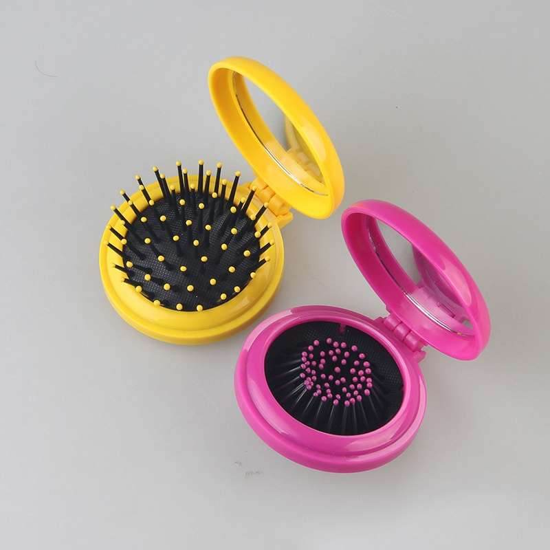 Girls Travel Folding Hair Brush with Mirror Pocket Size Comb-1