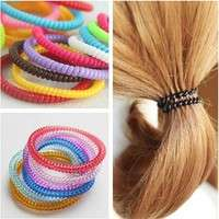 hQMu-20pcs Fashion Super Thin Girls Rubber Hair Ropes Telephone Wire Ponytail Holder