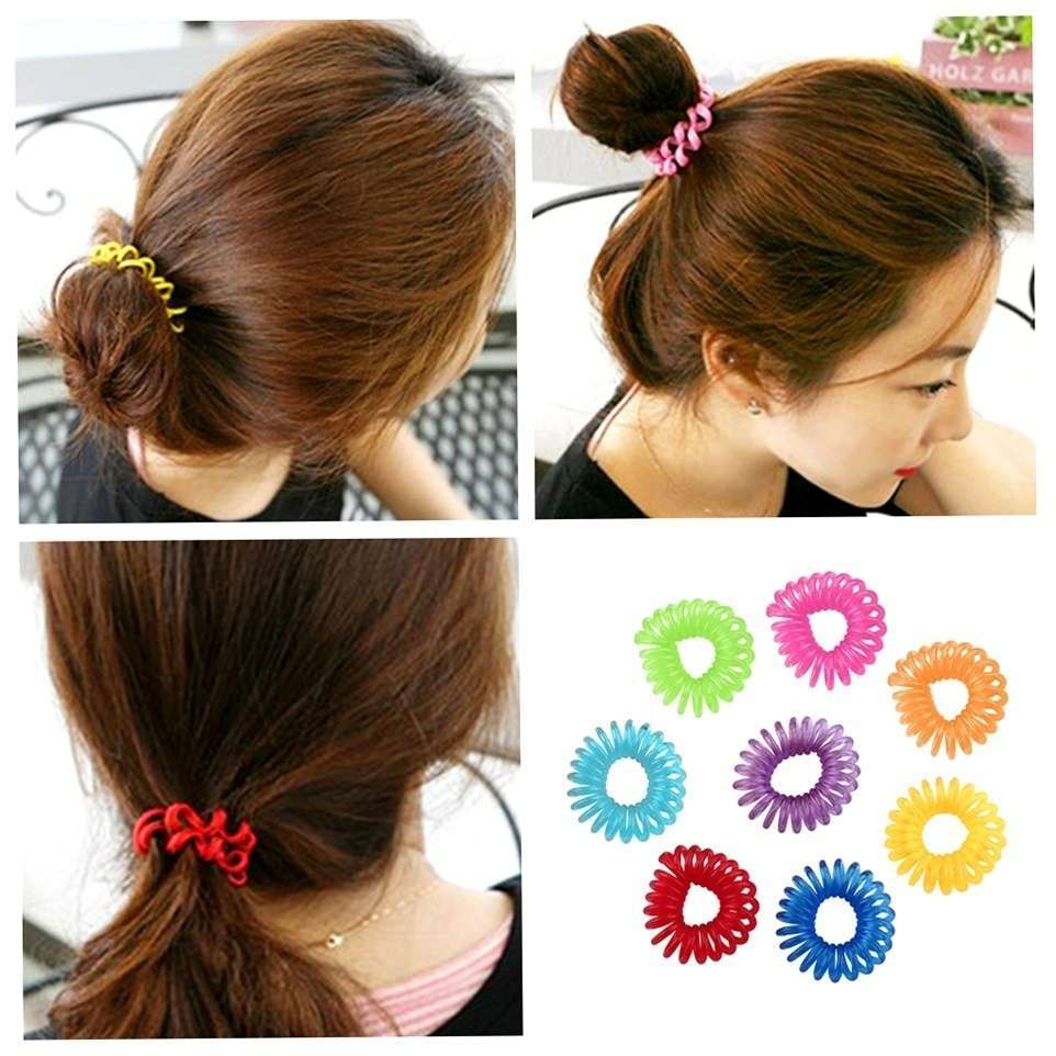 10 Pcs Girl Elastic Rubber Hairband Phone Wire Hair Tie Ring Rope Ponytail mk5 Color Multi color