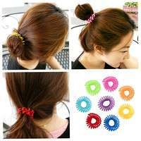 hWnI-10 Pcs Girl Elastic Rubber Hairband Phone Wire Hair Tie Ring Rope Ponytail Mk5 Color Multi Color
