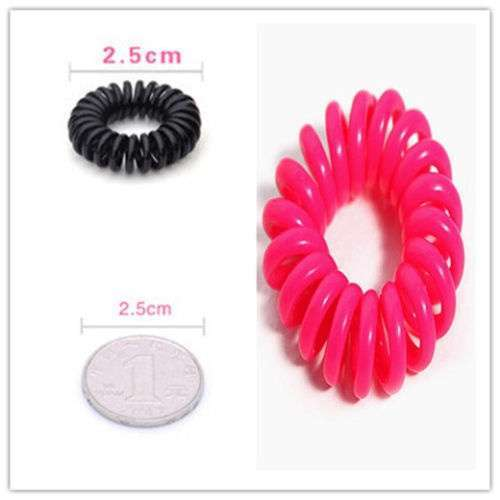 10 Pcs Girl Elastic Rubber Hairband Phone Wire Hair Tie Ring Rope Ponytail mk5 Color Multi color-4