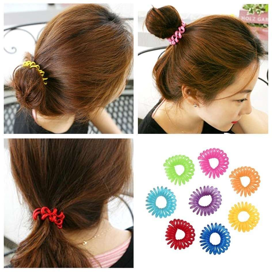 10 Pcs Girl Elastic Rubber Hairband Phone Wire Hair Tie Ring Rope Ponytail mk5 Color Multi color-5