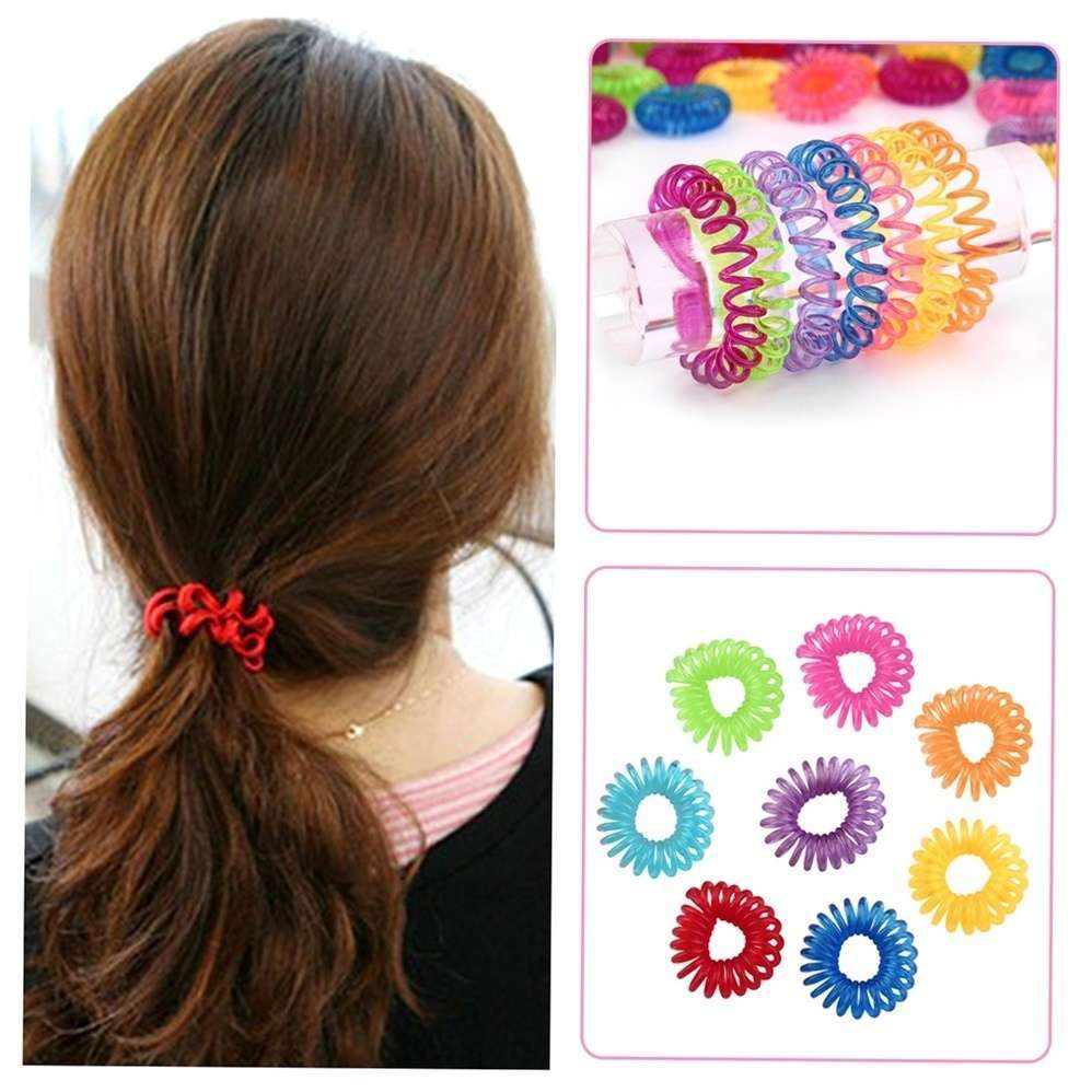 10 Pcs Girl Elastic Rubber Hairband Phone Wire Hair Tie Ring Rope Ponytail mk5 Color Multi color-6