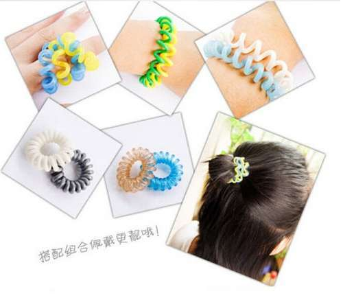 10 Pcs Girl Elastic Rubber Hairband Phone Wire Hair Tie Ring Rope Ponytail mk5 Color Multi color-7