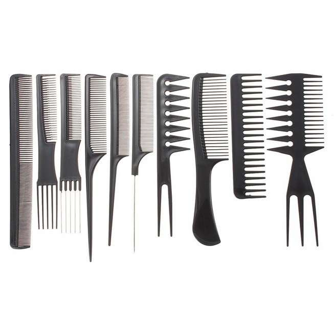 Set 10Pcs Black Pro Salon Hair Styling Hairdressing Plastic Barbers Brush Combs
