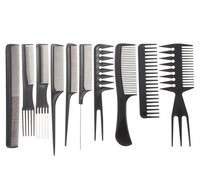 hdAN-Set 10Pcs Black Pro Salon Hair Styling Hairdressing Plastic Barbers Brush Combs