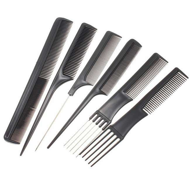 Set 10Pcs Black Pro Salon Hair Styling Hairdressing Plastic Barbers Brush Combs-1