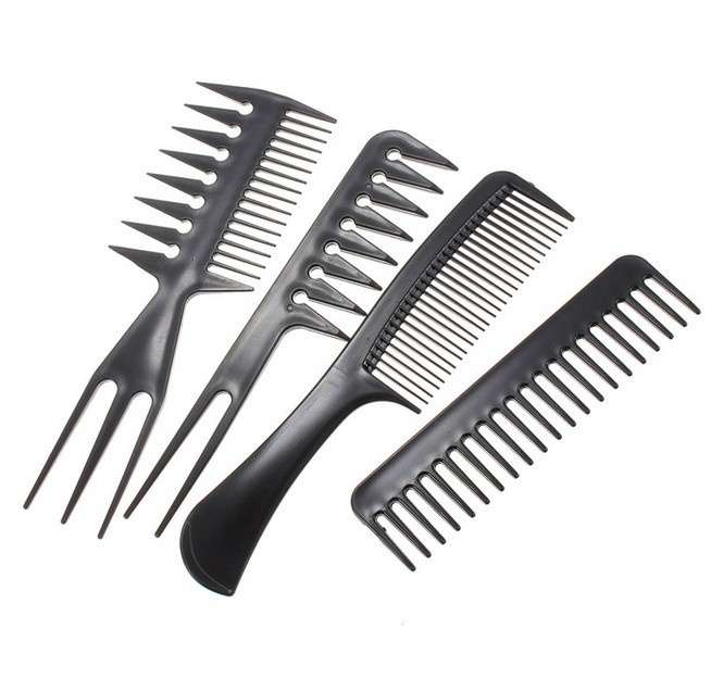 Set 10Pcs Black Pro Salon Hair Styling Hairdressing Plastic Barbers Brush Combs-2
