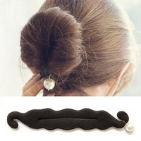 hjER-Big Simulated Pearl Hair Styling Tools Bun Roller Black Barrette Hair Accessories Women