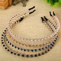 hlKK-Women Girl Crystal Rhinestone Jewelry Headband Head Piece Hair Band