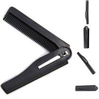 hmOO-Men Women Black Handmade Folding Pocket Clip Hair Mustache Beard Comb
