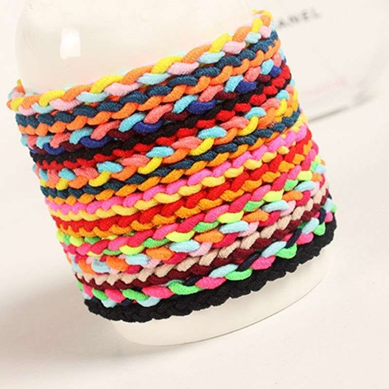 10 x Hand Wave Colorful Braided Elastic Rubber Hair Ties Band Rope Ponytail Holder-1