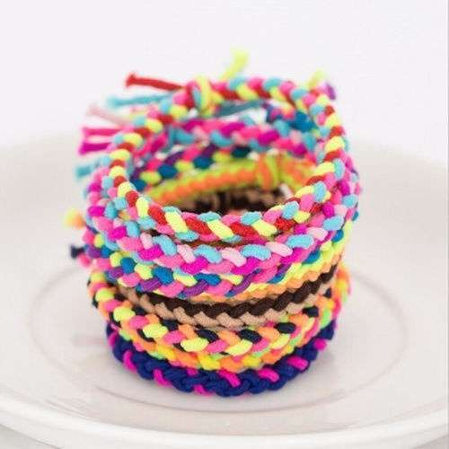 10 x Hand Wave Colorful Braided Elastic Rubber Hair Ties Band Rope Ponytail Holder-2