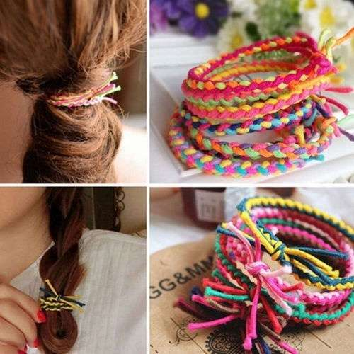 10 x Hand Wave Colorful Braided Elastic Rubber Hair Ties Band Rope Ponytail Holder-4