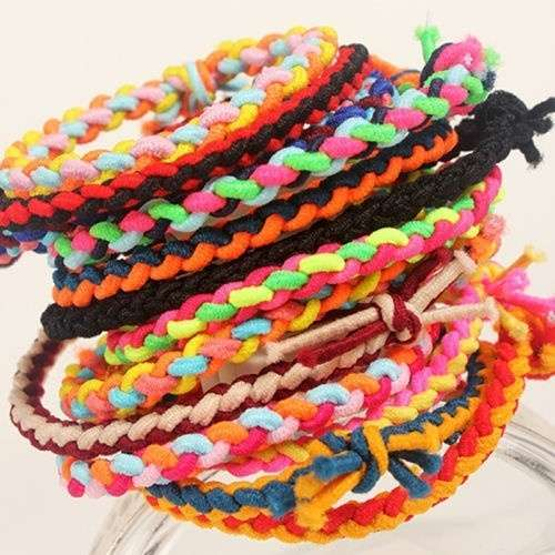 10 x Hand Wave Colorful Braided Elastic Rubber Hair Ties Band Rope Ponytail Holder-5